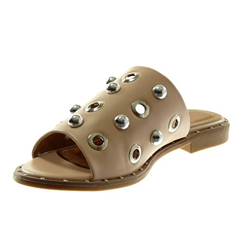 Angkorly Women's Fashion Shoes Sandals Mules - Slip-on - Pearl - Studded - Perforated Block Heel 2 cm Beige yObYGn81