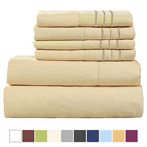 EASELAND 6-Pieces 1800 Thread Count Microfiber Bed Sheet Set-Wrinkle & Fade Resistant,Deep Pocket,Hypoallergenic Bedding set,King,Golden - Six Piece Bedding Set