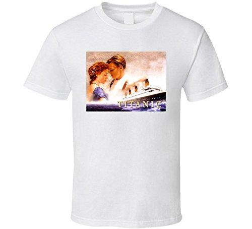 T-Shirt Bandit Titanic Leonardo Dicaprio Kate Winslett Classic Movie T Shirt L White (Classic Shirt Movie)