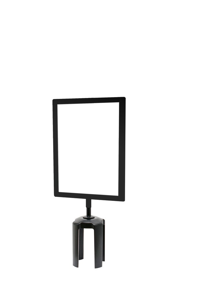 Tensabarrier FRAME-HDSC-33-8511HD-V Frame with Heavy Duty Vertical Sign Cone, 8.5'' x 11'', Black