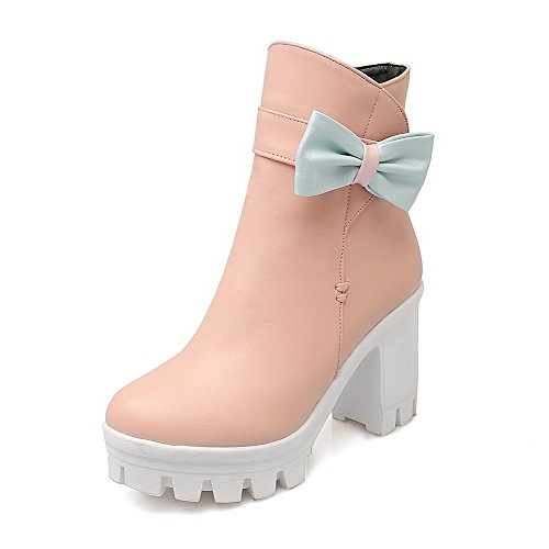 Boots Pink Low Round PU Heels High WeiPoot Top Closed Women's Toe Solid 1pUxAw
