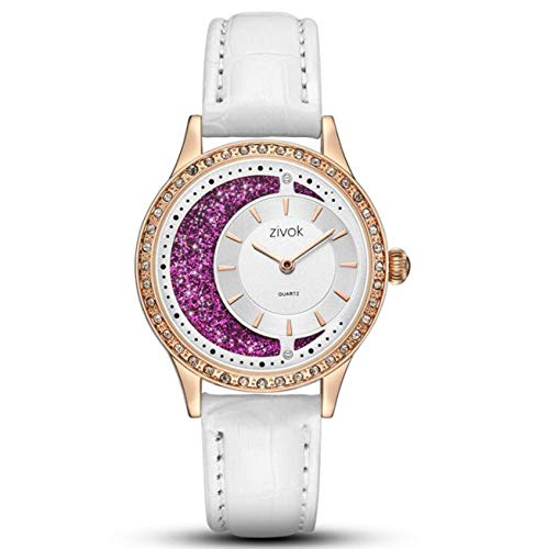 Zivok Women Watches Quartz Analog Clock Purple Leather Strap Crystal Moon Dial Iced Out Elegant Ladies Watch 8043,White
