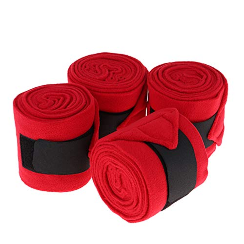 (DYNWAVE 4 Pieces Horse Polo Wraps Pony Legging Protection Wrap Bandage Polo Outdoors - Red, 3m)