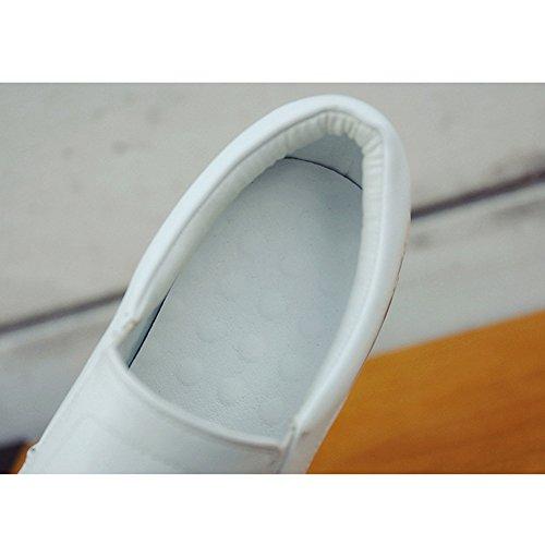 Walking Hidden Womens Elastic Flat Sneaker Panel Loafers White Shoes Wedge Casual Btrada Graffiti Heel APnxqA4