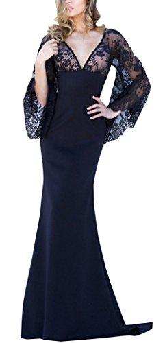 Bestfort Damen Partykleid Elegant Lace Rückenfrei Maxi Lang Satin ...