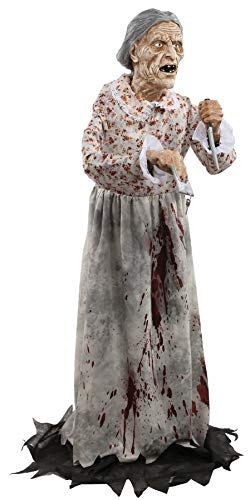 UHC Scary Haunted House Granny Bates Horror Decoration Animated Halloween Prop ()