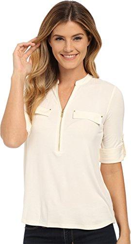 - Calvin Klein Women's Modern Essential Zip Front Roll Sleeve Blouse, Birch Medium
