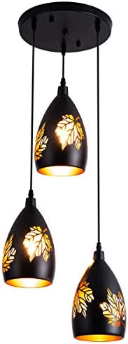 3 Light Pendant Vintage Adjustable Kitchen Lighting Fixture with Maple Leaves Pattern Carving Lampshade Black Hanging Lamp Industrial Pendant Lighting for Dining Room, Foyer, Loft, Hallway, Restaurant