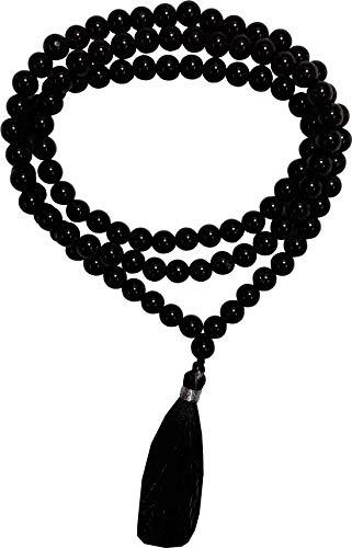 Aldomin Natural Energized Black Tourmaline 108 Bead Healing Crystal Necklace,Crystal Rosary Mala (Bead Size 6 to 7 - Pendant Bead Tourmaline