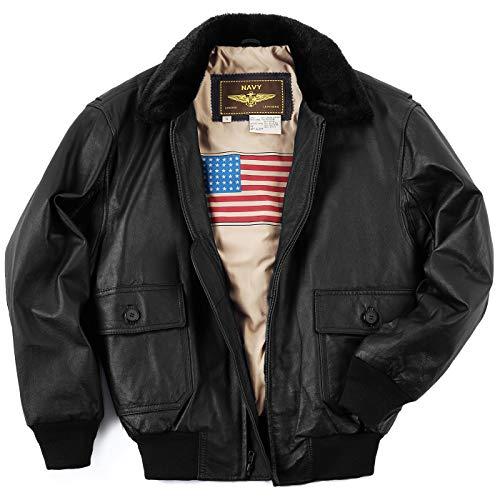 Landing Leathers Men's Navy G-1 Leather Flight Bomber Jacket, Distressed Brown, Medium ()