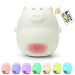 [UPGRADE]GoLine Remote Control Kids Alarm Clock Night Light, Cute Pig Soft LED Multicolor Wake Up Lamp for Bedroom, 2 Alarms, 3 Sounds, 7 Colors, Temperature Display, AC/Battery Powered.(NL013)