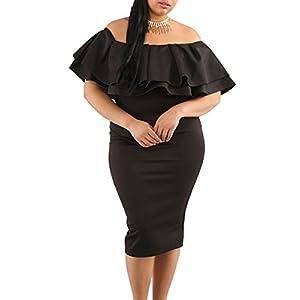 8b34567ac74 Gloria Sarah Women s Off Shoulder Ruffle Floral Print Plus Size Bodycon  Party Dress ...
