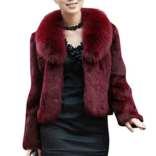 Classical city Faux Fox Fur Coat Women Long Sleeve Thick Overcoat Slim Short Jacket(M,Wine red)