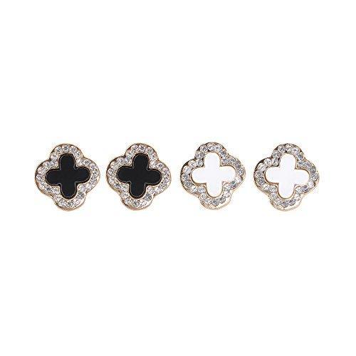 Black & Gold Leaf Earrings (Chiconon Women Fashion Four Leaf Clover Stye Stud Earrings Set 2 Pairs)