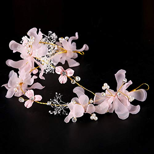 (Emily Wedding Bridal Headdress Garland Artificial Flower Bride Beach Head Wear Pink)