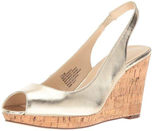 Nine West Women's Nordra Patent Wedge Sandal, Light Gold, 9.5 M US