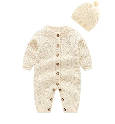 JooNeng Baby Newborn Cotton Knitted Sweater Romper Longsleeve Outfit with Warm Hat Set,Beige,3-6 Months - Set Sweater Baby