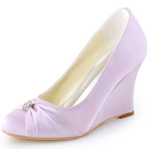 ElegantPark EP2005 Women High Heel Pumps Closed Toe Rhinestones Satin Prom  Evening Wedding Wedges Lavender US 8