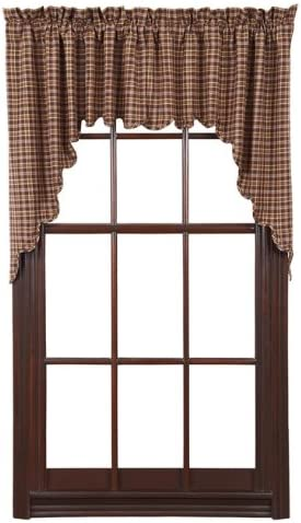 VHC Brands Prescott Swag Scalloped Set of 2 36x36x16 Country Curtains, Dark Brown