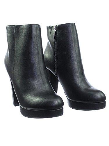 Timeless Booties Heel Platform Pu Ankle Block Minimalist Fur Aquapillar Sophisticated Faux Lining w Black 4wqf00d