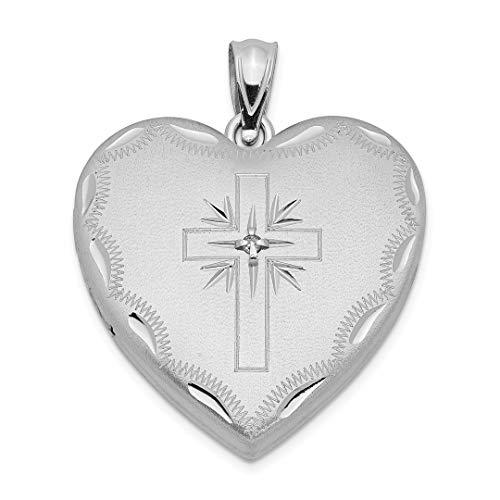 925 Sterling Silver 24mm Diamond Cross Religious Design Family Heart Locke Necklace Pendant Charm Locket Fine Jewelry For Women Gift Set -