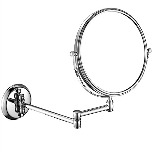 GURUN 7x Magnification Adjustable Round Mirror Wall Mount Makeup Mirrors,8-Inch,Chrome Finish M1308(8in,7x) by GURUN