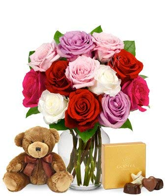 Flowers - One Dozen Assorted Sweetheart Roses with Godiva & Bear (Free Vase Included) ()