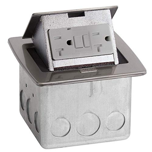 - Lew Electric PUFP-CT-SS Countertop Box, Pop Up w/20A GFI Receptacle - Stainless Steel