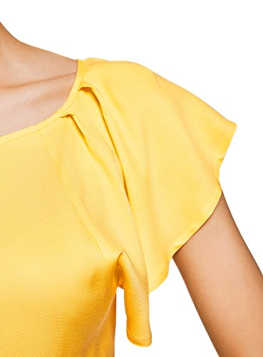 Viscose avec Femme Ailettes Blouse 5200n oodji Manches Jaune en Ultra UxafXWw6qI