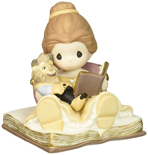 Precious Moments, Disney Belle Reading to Toy Beast Figurine , Porcelain Bisque Figurine, 153012