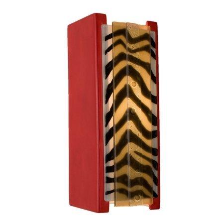 A19 Safari Wall Sconce, 3.75-Inch by 4.25-Inch by 10.75-Inch, Matador Red/Zebra Caramel