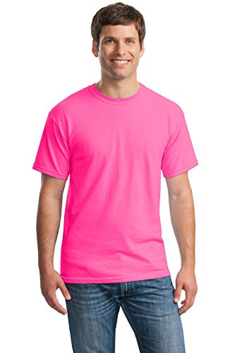 Gildan Heavy Cotton 100% Cotton Tshirt (G500) (Safety Pink[L], Safety Pink[L], Azalea[L], Heliconia[L], Berry[L])