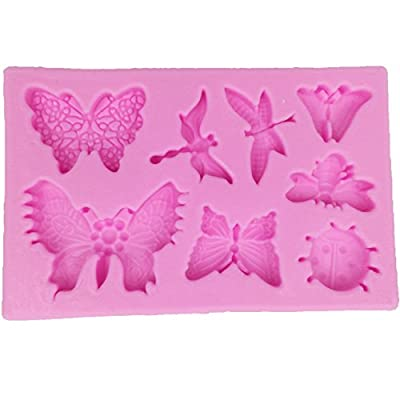 Funshowcase Insects Silicone Cake Decorating Mold for Fondant Cake Decoration, Cupcake Topper, Polymer Clay, Crafting, Resin Epoxy, Jewelry Making, Include Butterflies Dragonflies Bee Ladybug by FUNSHOWCASE