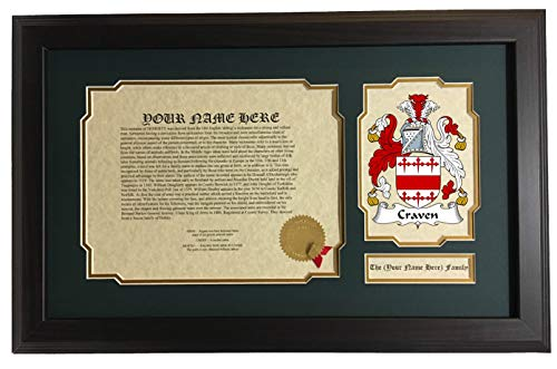 - Craven - Coat of Arms and Last Name History, 14x22 Inches Matted and Framed