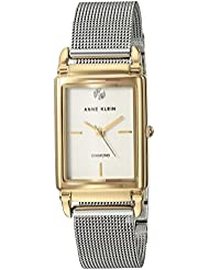 Anne Klein Womens AK/2971SVTT Diamond-Accented Two-Tone Mesh Bracelet Watch