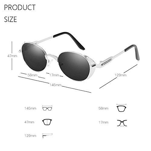 Unisex Lunettes métallique Bmeigo Retro de lunettes Rond soleil Steampunk Cercle Marron UV Protection rwU8xr6q
