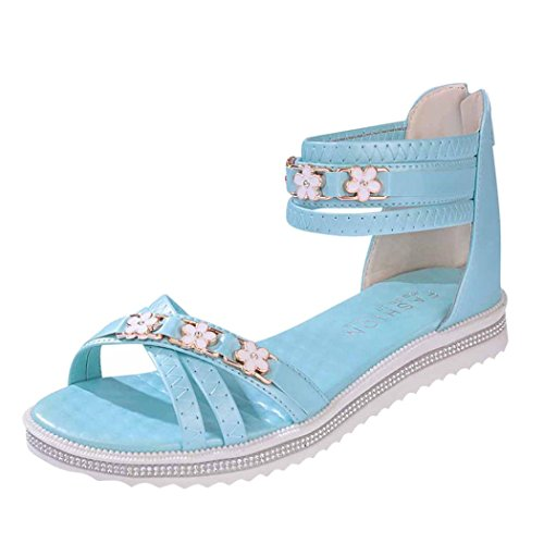 Summer Sandals Inkach Women Flat Shoes Summer Soft Leather Sandals Peep-Toe Roman Shoes
