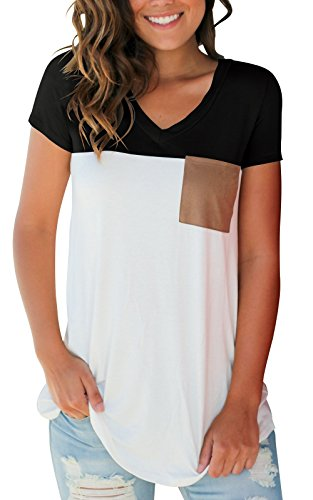SMALOVY Women's Basic V Neck T Shirt Suede Pocket Tee Top Blouse Black -