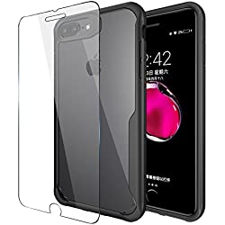 iPhone 8 Plus Case, Heavy Duty PC + TPU Combo Protective Defender Case for iPhone 7 Plus 5.5 inch (Black), Presented Toughened Glass Screen Protector, Business Gift for Men, Women, Girls, Boys