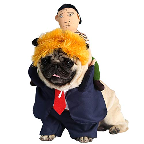 NucLighter Funny President Trump Pet Costume Wig Suit Doll Halloween Party Outfit Costume for Dogs Cats (XL, Trump)