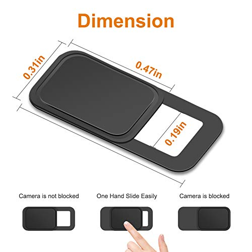 YILIJIE Laptop Webcam Cover, 0.027In Ultra Thin Laptop Camera Cover Strong Adhesive Security Webcam Privacy Cover Slide Blocker for MacBook Pro/Air, iMac, PC, Ipad, Smartphone, Echo Spot (S-9Pack)