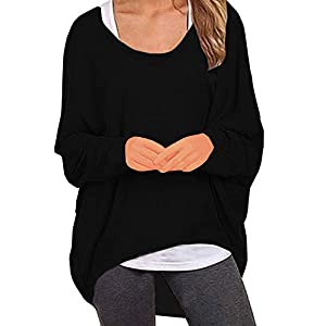UGET Women's Sweater Casual Oversized Baggy Loose Fitting Shirts Batwing Sleeve Pullover Tops