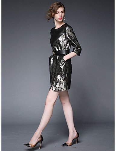 PU&PU Robe Aux femmes Gaine Vintage / Simple,Couleur Pleine Col Arrondi Au dessus du genou Polyester , black-m , black-m