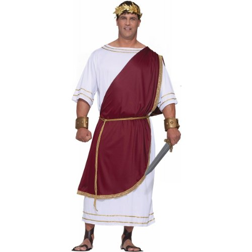 Forum Novelties Men's Plus-Size Extra Big Fun Mighty Caesar Costume, Red/White, 3X-Large -