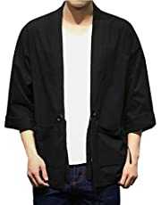 Hzcx Fashion Men's Cotton Blends Linen Open Front Cardigan Kimono Jackets