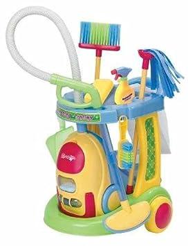PlayGo 3080 - Carrito de limpieza de juguete con aspirador de verdad (incluye 10 accesorios): Amazon.es: Juguetes y juegos
