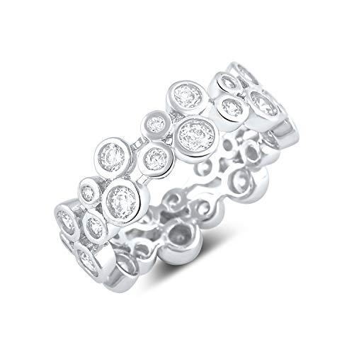 (Sterling Silver Cz Double Zig Zag Eternity Ring - Size 8)