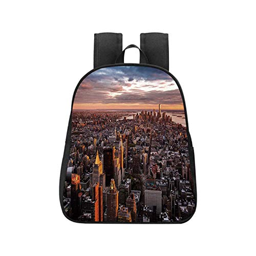 USA Children's Backpack,Aerial View of the Manhattan Skyline at Sunset Famous Financial District NYC for Travel,One_Size (Best School Districts In Manhattan Nyc)