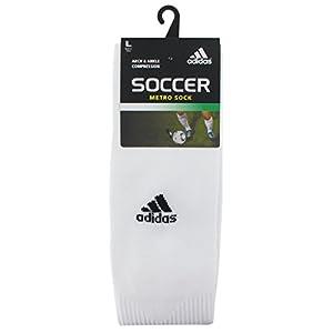 adidas Metro IV OTC Soccer Socks, White/Black/Clear Grey, Medium
