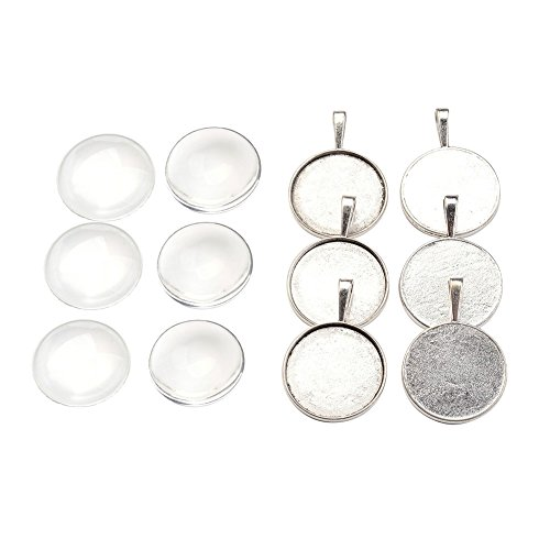 Pandahall 6 Sets Antique Silver Flat Round Blanks Cameo Bezel Pendant Tray Cabochon Settings with 25mm Clear Glass Dome Tiles Cabochons Lead (5mm Round Cabochon Pendant)